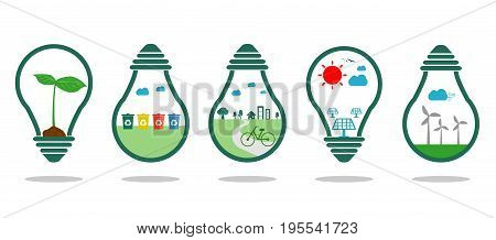 save energy symbol green ,Eco green energy, Save the World, bulb light icon,Vector Illustration