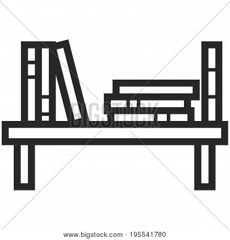 Simple Vector Icon of a bookshelf in line art style. Pixel perfect. Basic education element. School and office tool. Back to college.