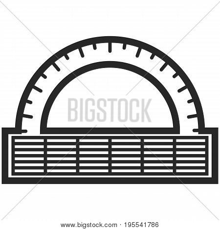 Simple Vector Icon of a classic alidad in line art style. Pixel perfect. Basic education element. School and office tool. Back to college. angle protractor