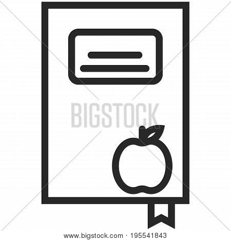 Simple Vector Icon of a book with an apple in line art style. Pixel perfect. Basic education element. School and office tool. Back to college.