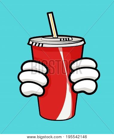 Isolated vector illustration of disposable red soda cup for beverages with straw and holding hands. Image for print and web design. Cartoon style with black outline on white background. Can be used as template