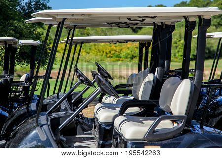 TRURO-SEPTEMBER 14: Golf cart near Truro lighthouse in Cape Cod , Massachusetts, USA on September  14, 2014.