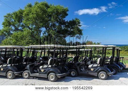 TRURO-SEPTEMBER 14: Golf cart near Truro lighthouse in Cape Cod , Massachusetts, USA on September  14, 2014.