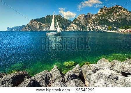 Amazing summer vacation leisure place with high mountains and Lake Garda Torbole Italy Europe
