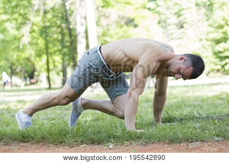 He Is Doing Exercise Before Morning Training