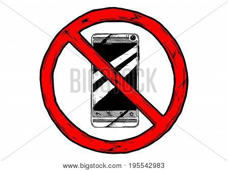 prohibition sign. no phones zone. Vector hand drawn illustration in vintage engraved style.