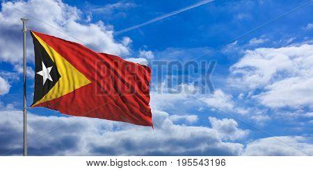 Timor - Leste waving flag on blue sky background. 3d illustration