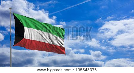 Kuwait Waving Flag On Blue Sky. 3D Illustration