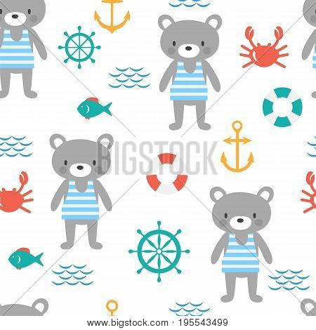 Seamless Pattern With Cute Little Bear Sailor. Marine Children Background With Fish, Crab And Anchor