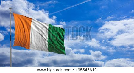 Ivory Coast Waving Flag On Blue Sky. 3D Illustration