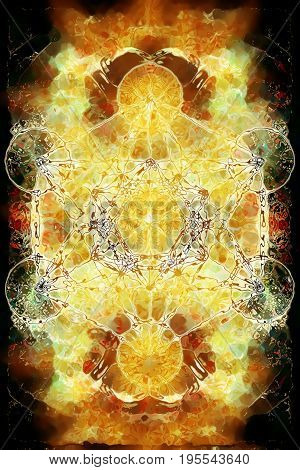 Merkaba on abstract color background. Glass effect