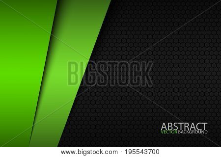 Black and green modern material design with a hexagonal pattern corporate template for your business vector abstract widescreen background