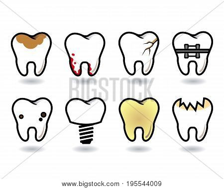 vector tooth set with pathology on a white background with shadow