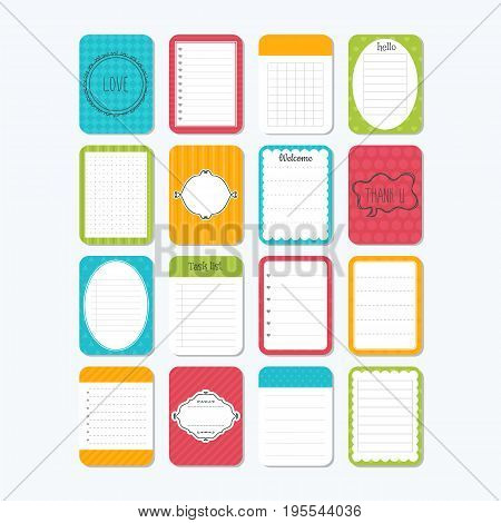 Sheets Of Paper. Collection Of Various Note Papers. Template Notepad. Cute Design Elements
