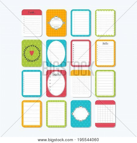 Template For Notebooks. Collection Of Various Note Papers. Notes, Labels, Stickers. Cute Design Elem
