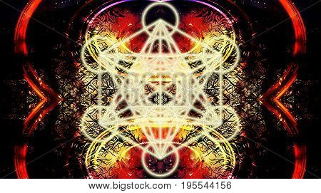 Light merkaba on abstract color background. Sacred geometry