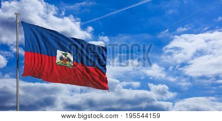 Haiti Waving Flag On Blue Sky. 3D Illustration
