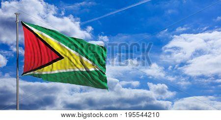 Guyana Waving Flag On Blue Sky. 3D Illustration