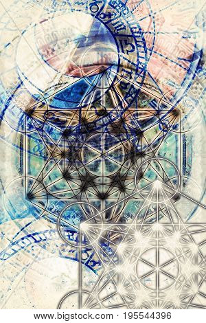 Light merkaba and zodiac and abstract background. Sacred geometry