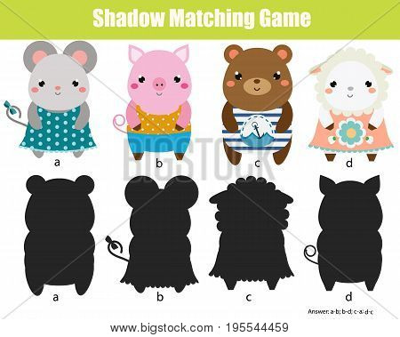 Shadow matching game for children. Find the right shadow. Activity for preschool kids. Cute animals characters