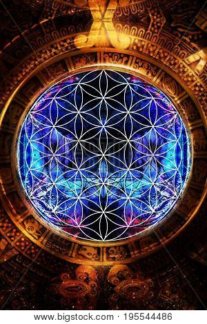 Flower of life and ancient Mayan Calendar on abstract color background. Sacred geometry