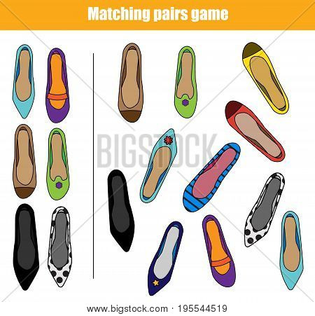 Find the same pictures children educational game. Find pairs of shoes kids activity