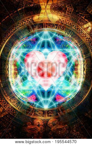 Light merkaba and heart and ancient Mayan Calendar in cosmic space. Sacred geometry
