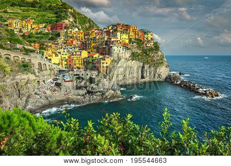 Stunning panorama of Manarola Cinque Terre National Park Liguria Italy Europe