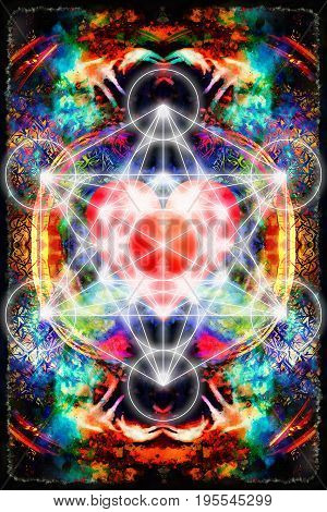 Light merkaba and heart on abstract background. Sacred geometry