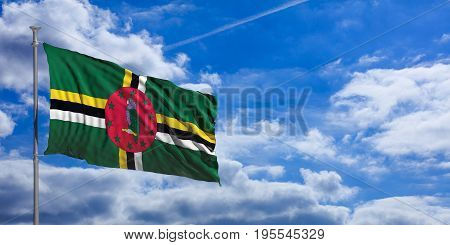 Dominica Waving Flag On Blue Sky. 3D Illustration