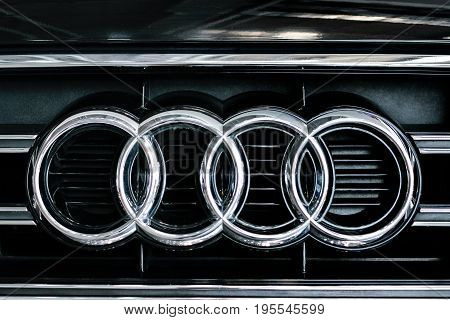 Rzeszow Poland May 28 2017: Audi sign close-up during Automative Exhibition in Rzeszow. Audi is a German automobile manufacturer of luxury vehicles.