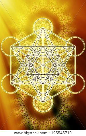 Merkaba and mandala on abstract color background. Sacred geometry. Sun light effect