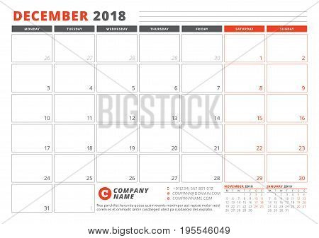 Calendar Template For 2018 Year. December. Business Planner 2018 Template. Stationery Design. Week S