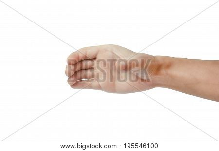 Hand of a man to hold an object. card mobile phone or other palm gadget isolated on white