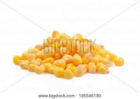 Sweet whole kernel corn, corn over white background