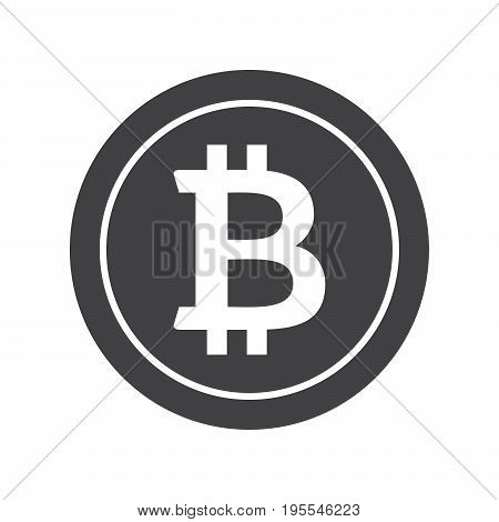 Black bitcoin icon for cryptocurrency, virtual currency, digital money, ecash