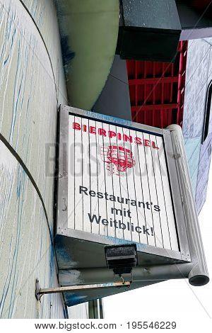 BERLIN, GERMANY - OCTOBER 7, 2016: Advertising sign at the former Restaurant