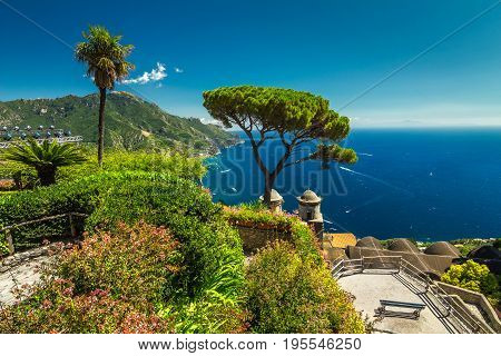 Stunning flowers and beautiful garden terrace of Villa Rufolo Ravello Amalfi coast Italy Europe