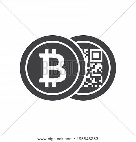 Black bitcoins icon for cryptocurrency, virtual currency, digital money, ecash