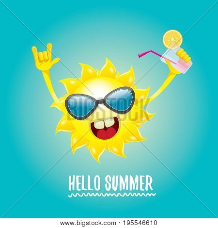 hello summer rock n roll vector label or logo. summer cocktail party background with funky smiling sun character wearing sunglasses and holding cocktail glass with lemon and drinking straw.