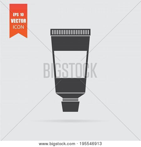 Cream Tube Icon In Flat Style Isolated On Grey Background.