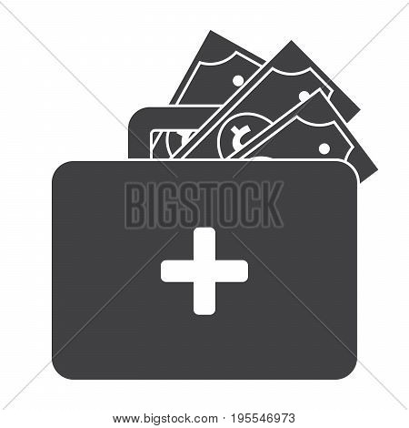 Emergency fund concept with first aid kit and money