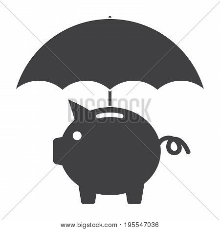 Piggy bank with umbrella concept for finance insurance, safe investment or protection