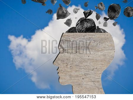 Head as wooden dustbin and falling garbage bags. Garbage and pollution concept. Blue sky.