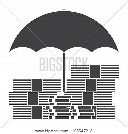 Money under umbrella concept for investment insurance