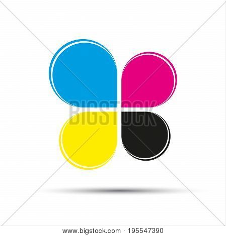 Abstract vector color logo in the shape of a cloverleaf in cmyk colors isolated on a white background