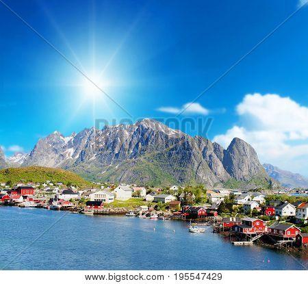 a beautiful view of Reine town in Lofoten Islands Norway