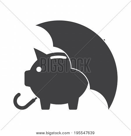 Piggy bank with umbrella concept for safe investment, finance insurance or protection