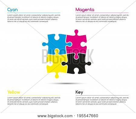 Minimalistic infographic template with four puzzle pieces in cmyk colors for your business project vector illustration