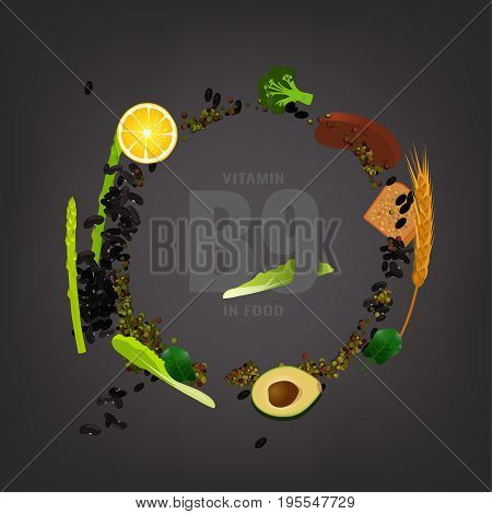 Vitamin B9 vector illustration. Foods containing folate on a dark grey background. Source of folicin - seeds, corn, vegetables, beans, lentils. Medical, healthcare and dietary creative concept.